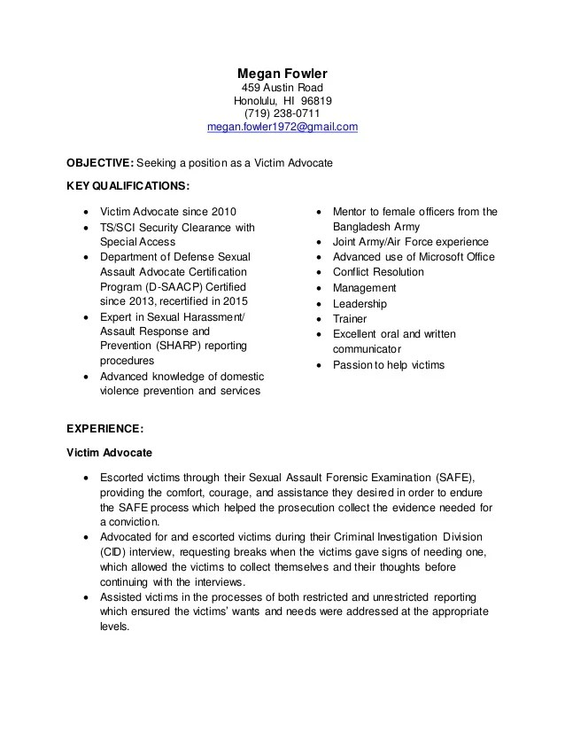 targeted resume victim advocate targeted resume examples