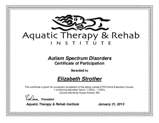 Autism Spectrum Disorders Certificate Elizabeth Strother