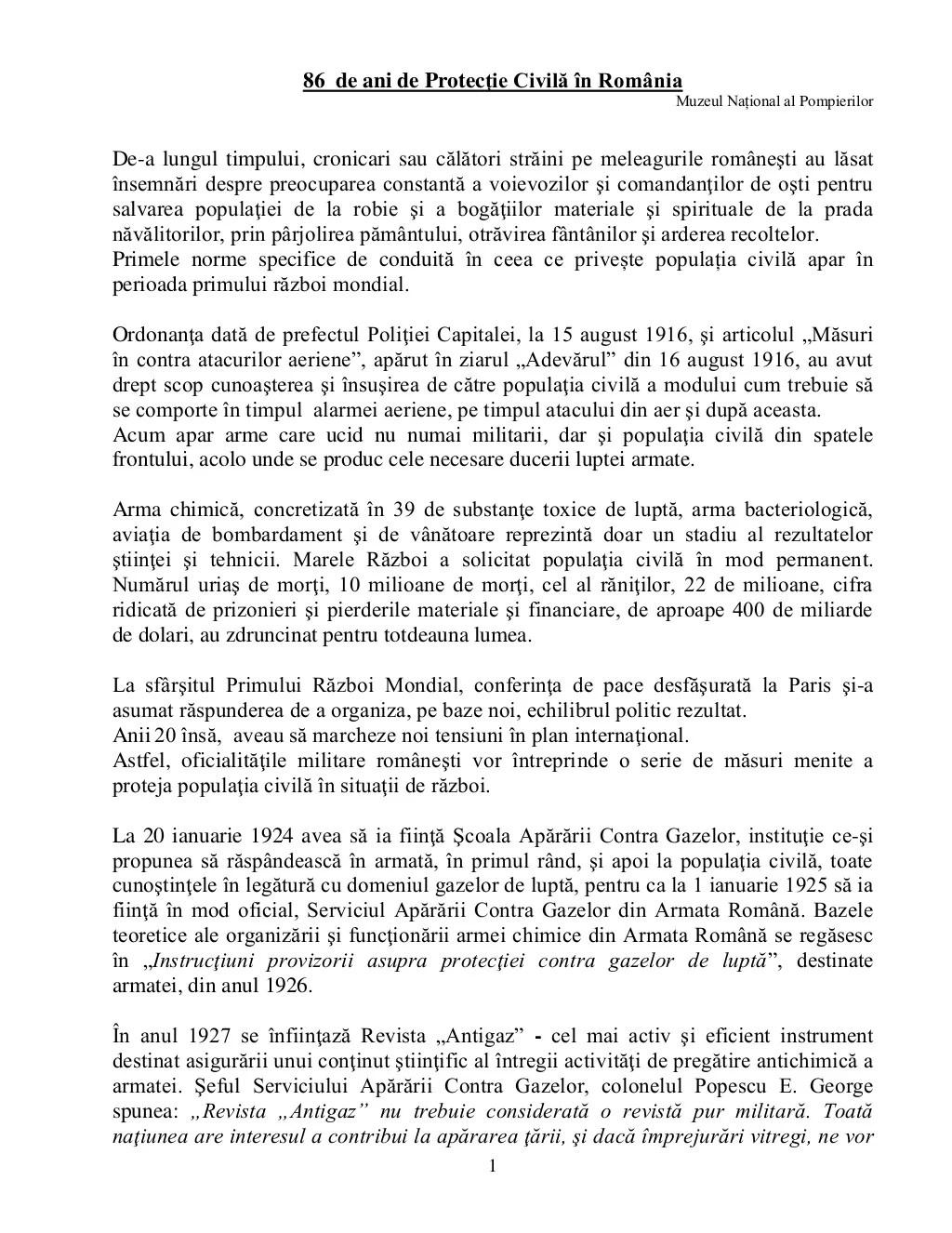 1 86 de ani de Protecţie Civilă în România Muzeul Național al Pompierilor De-a lungul timpului, cronicari sau călători str...