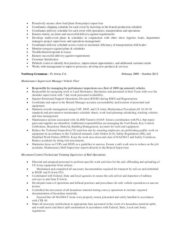 fleet maintenance manager resume sample example maintenance