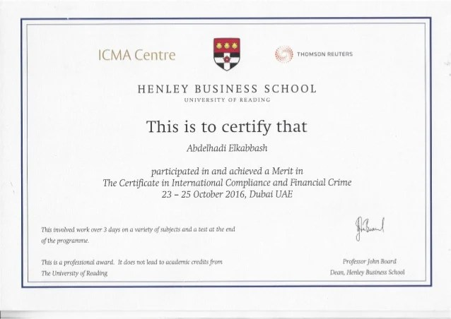Certificate Compliance Diploma