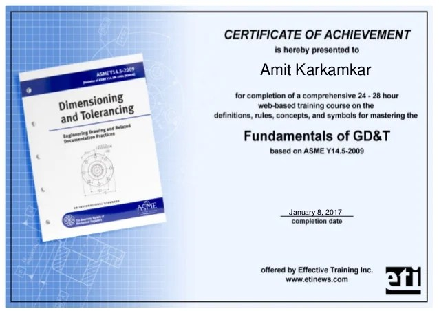 Course Completion Certificate Gd D Asme Y14 5