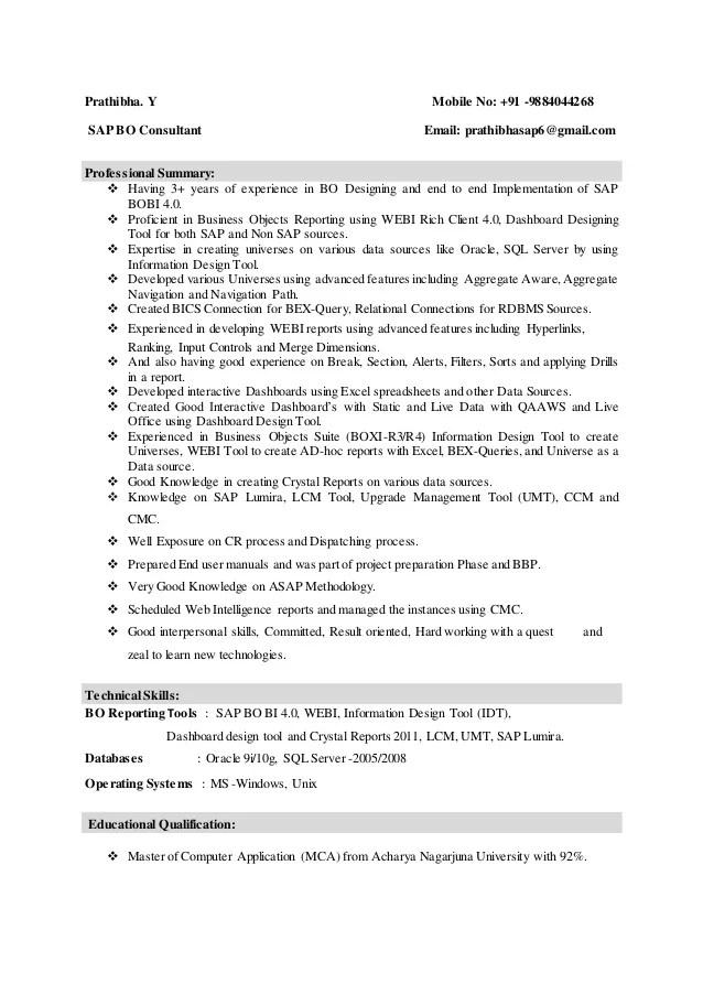 bo resume y mobile no sap bo consultant email prathibhasap bo resume