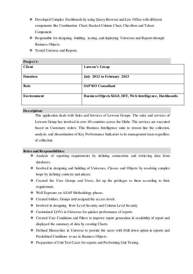 mohammed alam professional resume business objects resume sample resume for sap bo - Business Object Resume