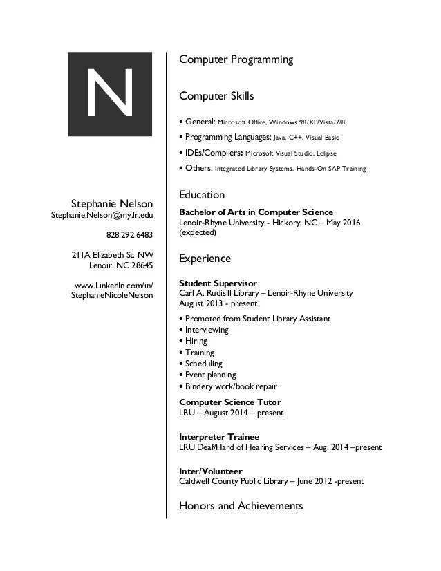 computer programming resume