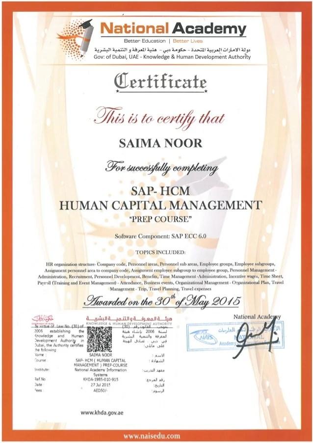 Saima Noor Sap Hcm Certificate