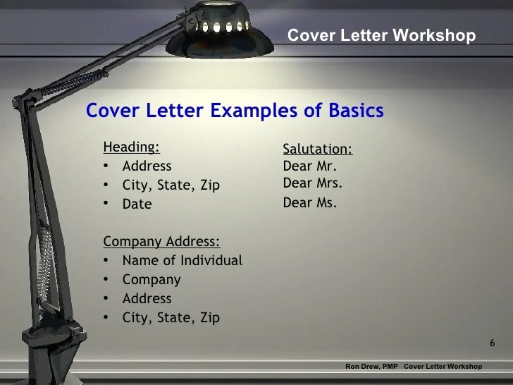 RDrew Cover Letter Workshop Cover Letter Examples