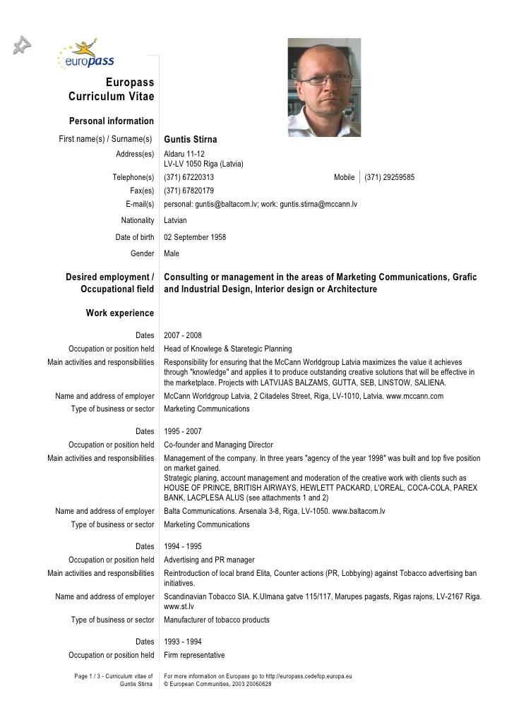 European Curriculum Vitae Format Pdf  european cv format pdf