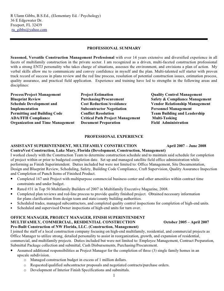Construction Superintendent Resume Examples And Samples ...