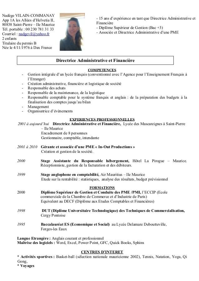 Cv Nadege Juillet 2015
