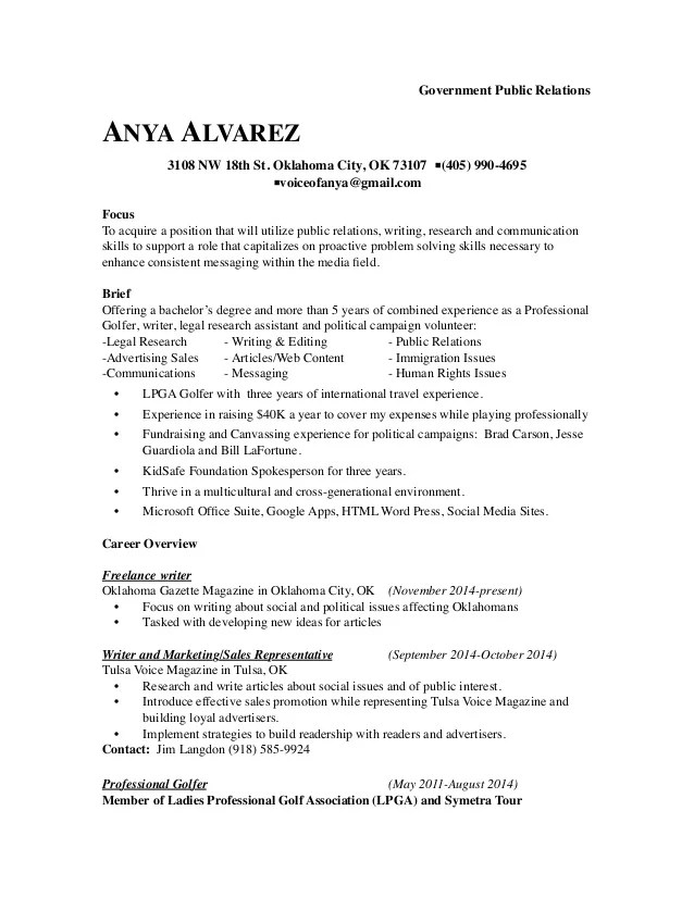 Government Relations Resume