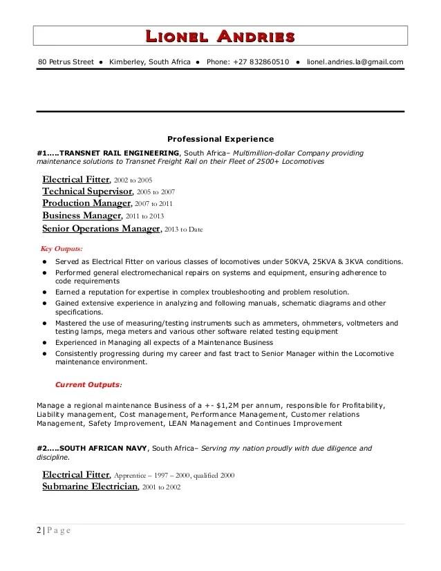 cv technical maintenance manager