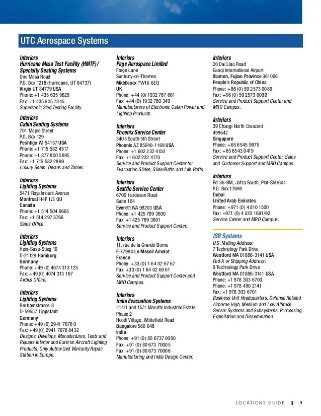 United Technologies Locations Guide