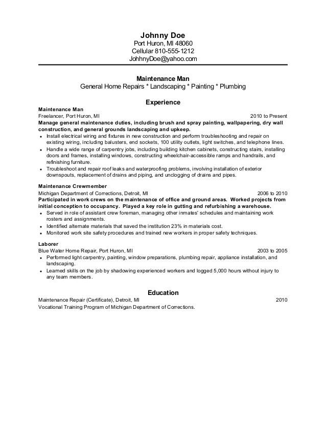 maintenance amp former inmate resume