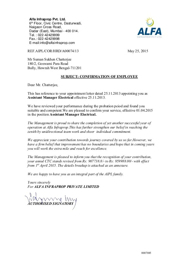 letters confirming employment