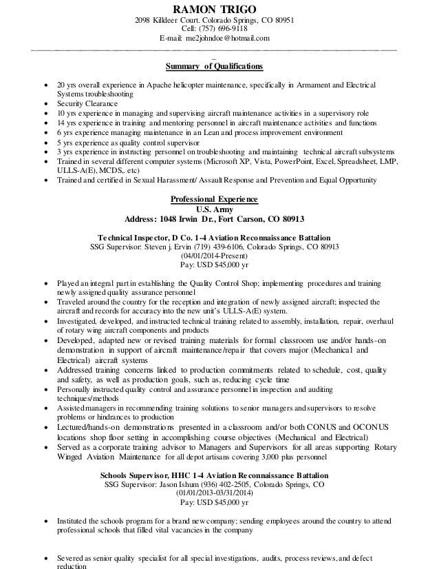Aviation Resumes. Example Maintenance Manager Resume Sample