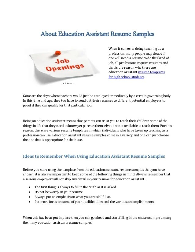 Resumes Educational Assistant. About Education Assistant Resume