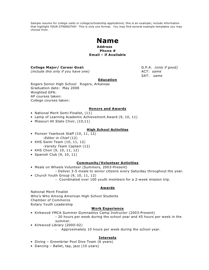Sample Resumes For College Applications. Resume Examples Sample
