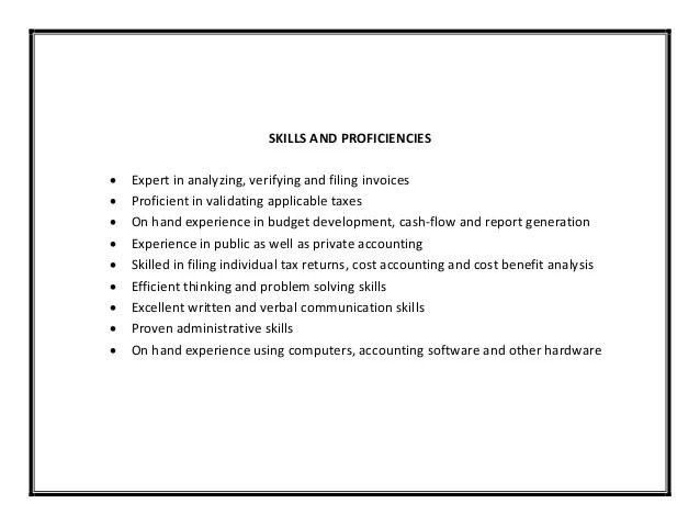 Accounting Resume Skills And Abilities] List Skills Resume ...