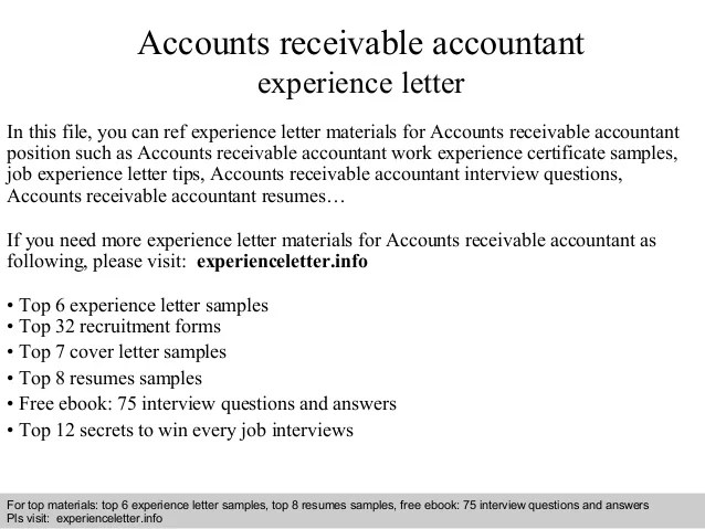 accounts receivable accountant experience letter in this file you can