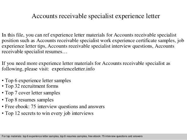 Accounts Receivable Specialist Resume Samples Accounting