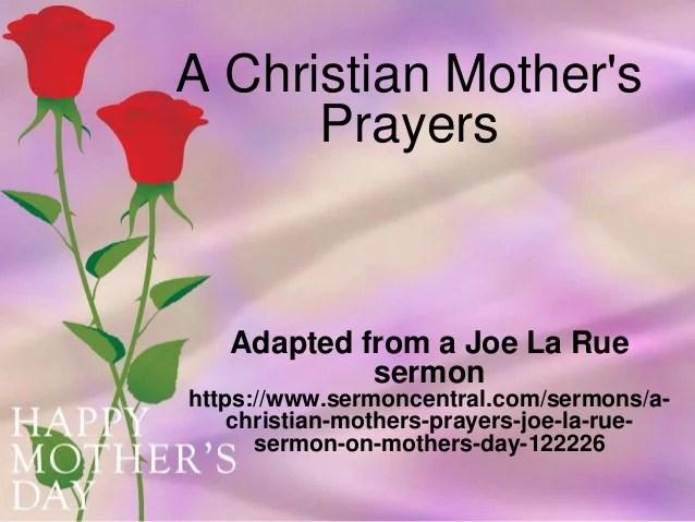 A Christian Mother S Prayers