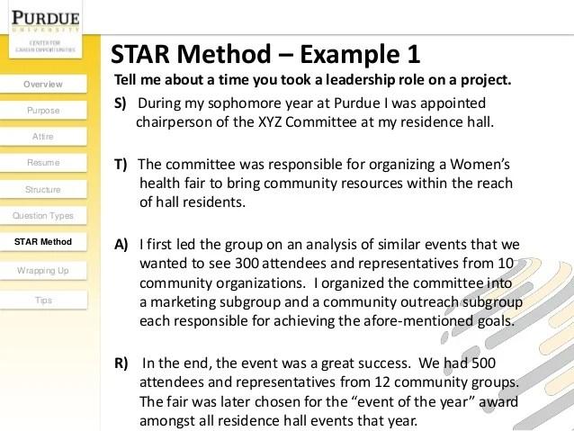 Star Method Cv Examples - Resume Templates