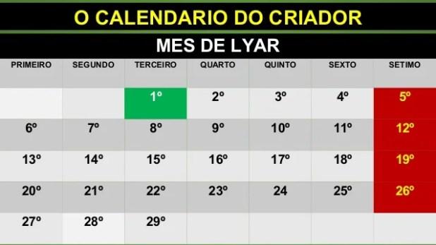 O CALENDARIO DO CRIADOR MES DE LYAR PRIMEIRO SEGUNDO TERCEIRO QUARTO QUINTO SEXTO SETIMO 1º 2º 3º 4º 5º 6º 7º 8º 9º 10º 11...