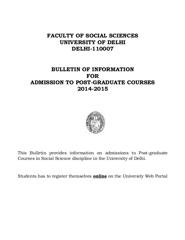 Delhi University Master S Courses Admission Bulletin 2014
