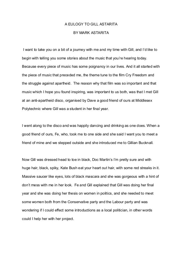 Eulogy Template For Friend How To Write A Eulogy For A Grandparent