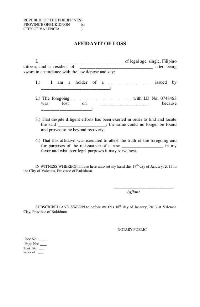 City Of Valencia Affidavit Of Loss I. Free Affidavit Form Sample