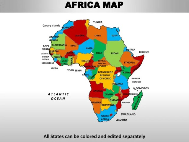 Africa editable continent map with countries AFRICA MAP