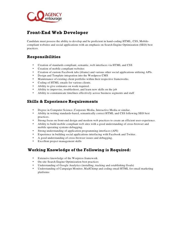 entry level front end developer job description