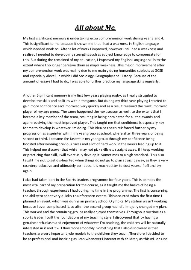 all about me example essay