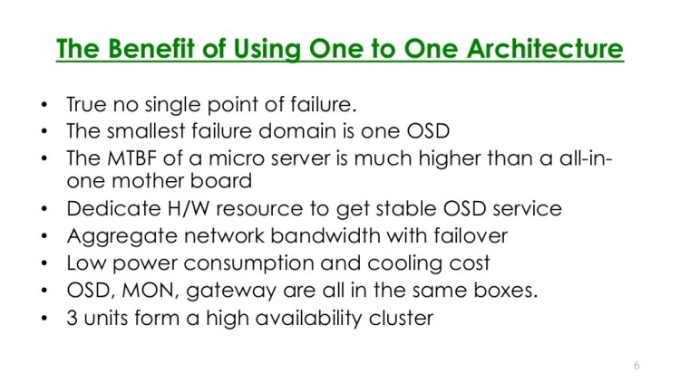 The Benefit of Using One to One Ambedded Nanoserver datastorage Architecture •  True no single point of failure. •  The smallest failure domain is one OS...