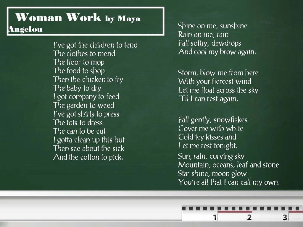 Ysis Of Poem By Maya Angelou Entitled Woman Work By