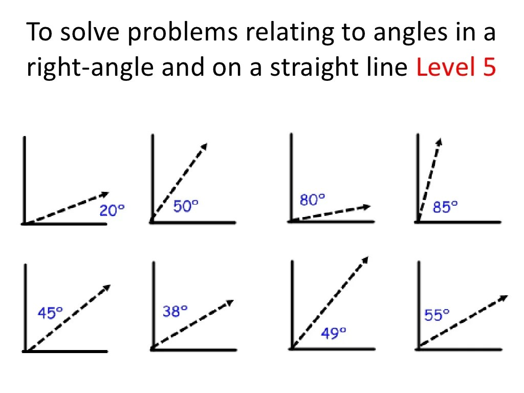 Angles In A Right Angle And Straight Line