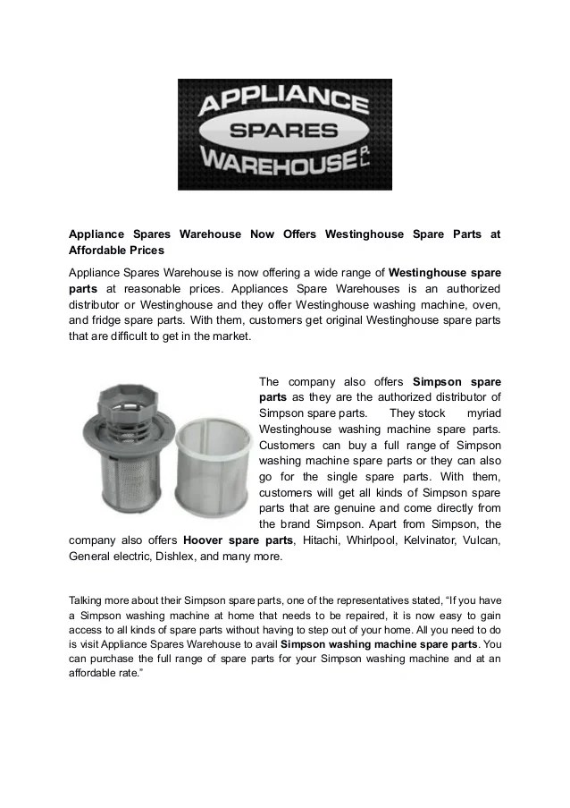 Appliance Spares Warehouse Now Offers
