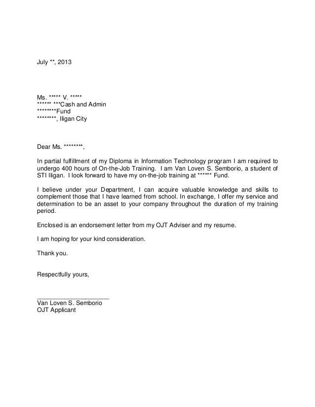 Application Letter For Ojt Hotel And Restaurant Management