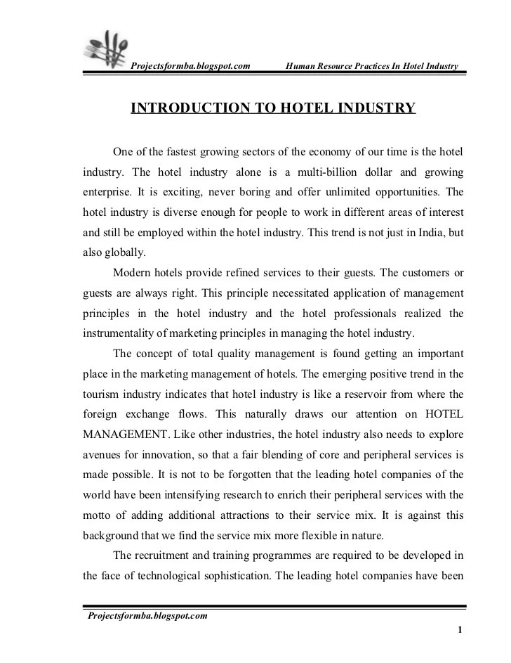 Hospitality training report Essay Sample