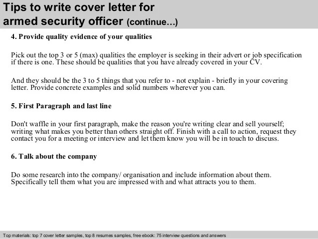 Great 4 Tips To Write Cover Letter For Armed Security Officer