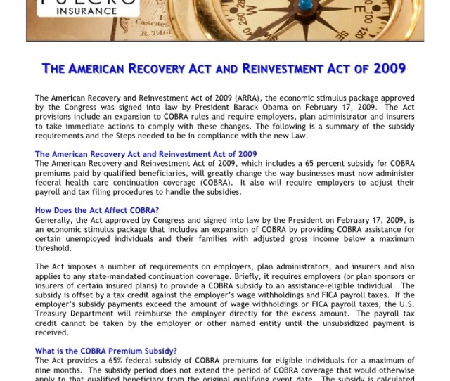 The American Recovery Act And Reinvestment Act Of 2009 The American Recovery And Reinvestment Act Of