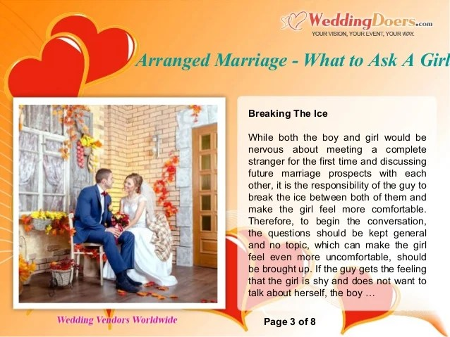 Questions Ask Girl Arranged Marriage