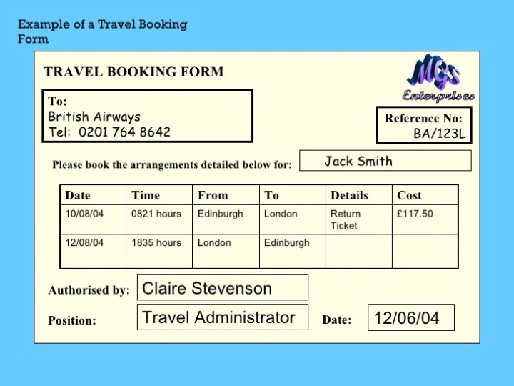 travel agent booking form template