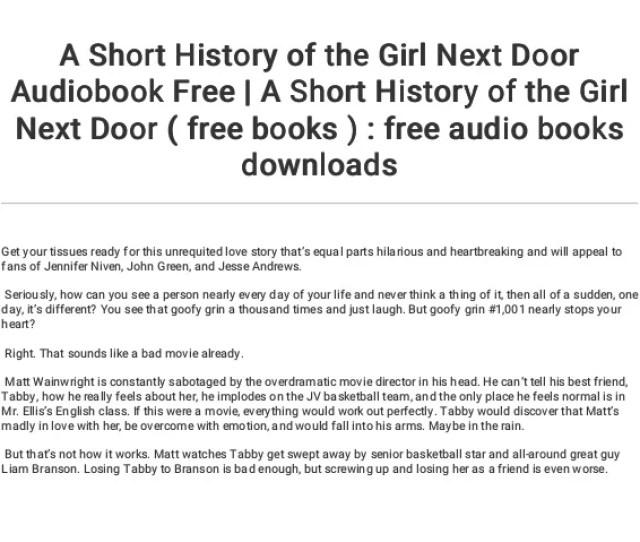3 A Short History Of The Girl Next Door Audiobook Free