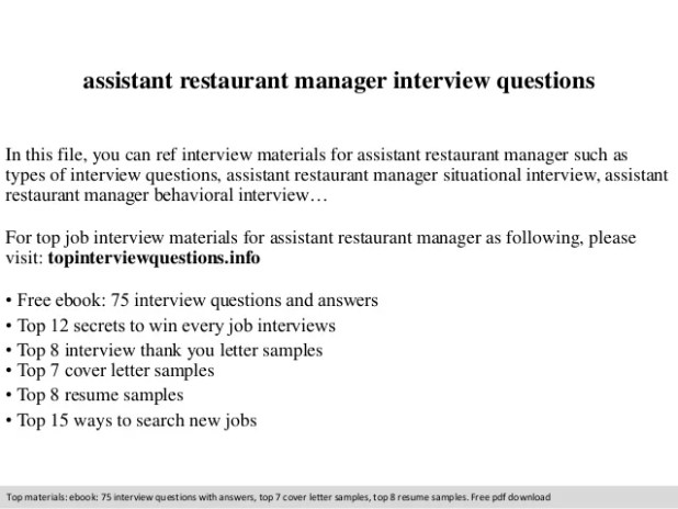 assistant restaurant manager interview questions in this file you can ref materials for what