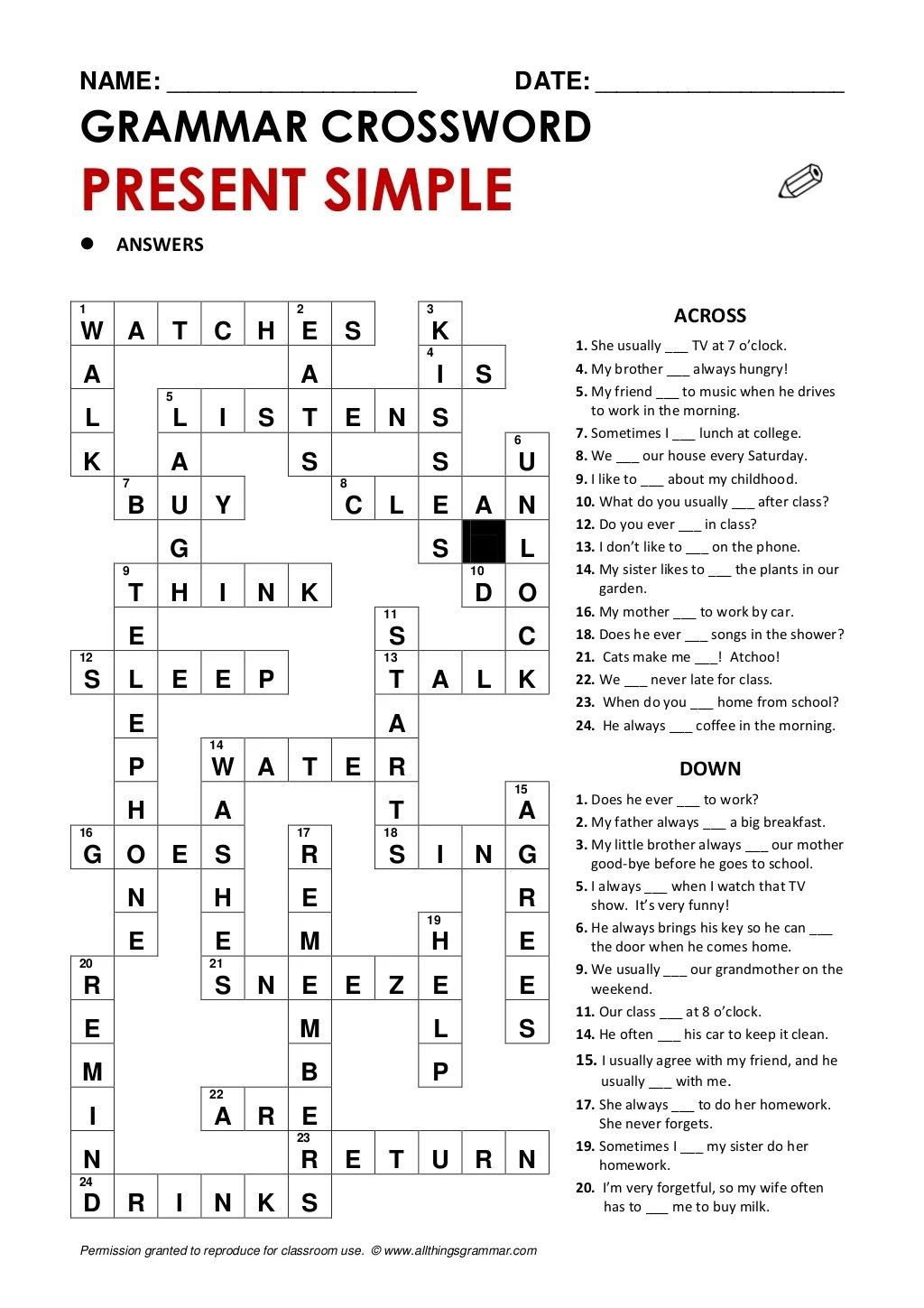 Crossword Presentsimple