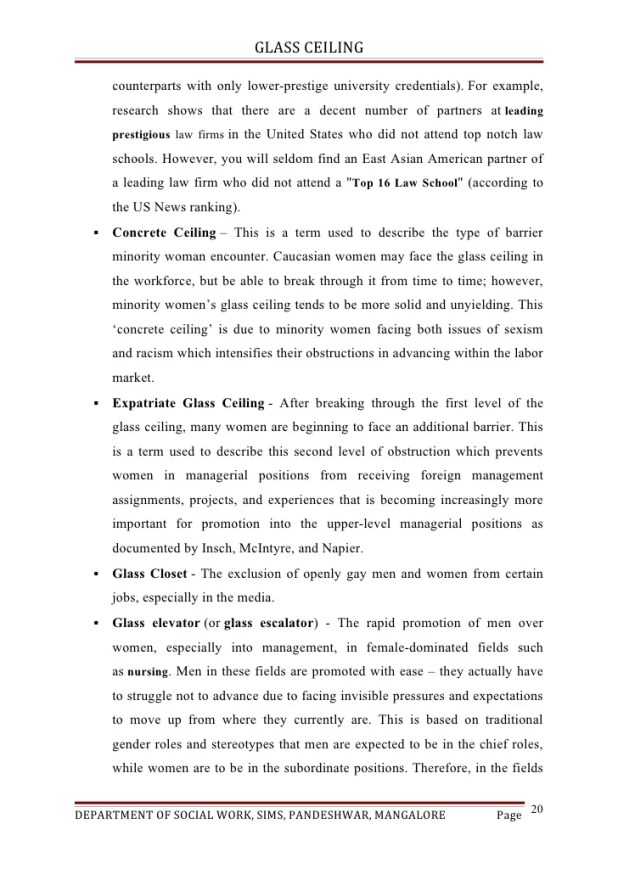 the glass ceiling essay The importance of eliminating the prevalent glass ceiling essay a+ pages:7 words:1788 this is just a sample  we will write a custom essay sample on the importance of eliminating the prevalent glass ceiling specifically for you for  we will write a custom essay sample on the importance of eliminating the prevalent glass ceiling.