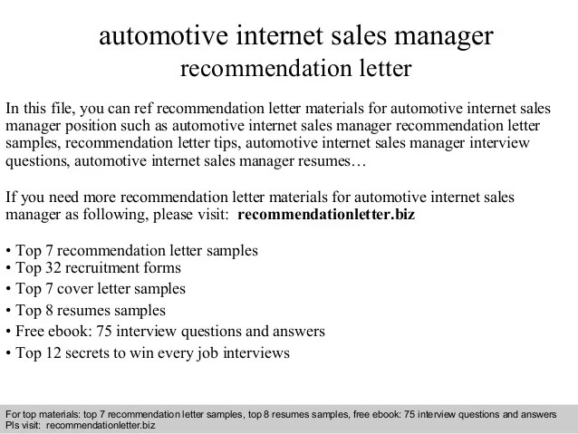 automotive internet sales resume