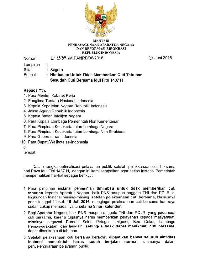 Surat No. 2337/M.PANRB/06/2016
